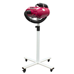 Vortex Dual Pro model velocity dryer for dog groomers shown on stand with flexible hose