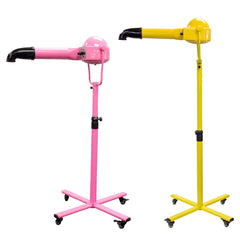 two vortex ion dog grooming dryers one pink one yellow both on stands with rigid hands free hoses fitted