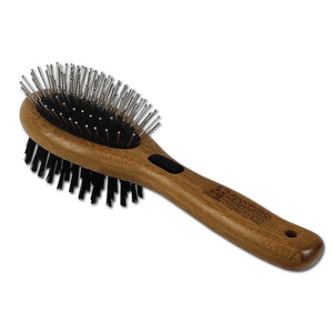 Bamboo Groom Combo Double Brush Pin and Bristle - Short to Med