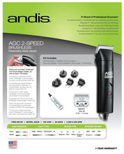 Load image into Gallery viewer, Andis AGC Brushless 2 Speed Black - Box Back