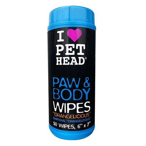 Pet Head Paw & Body Wipes 50 Pack Orange