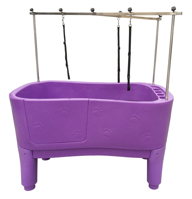 Moulded bath tub purple front - with door in