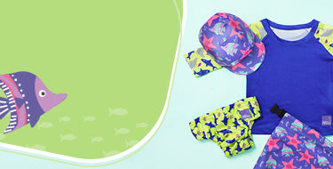 Bambino mio electric ocean swim collection banner with whole swim range