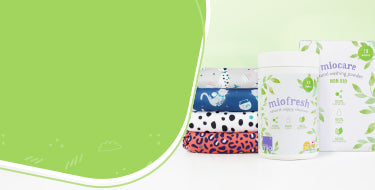 Laundry collection banner with range of Bambino Mio laundry products