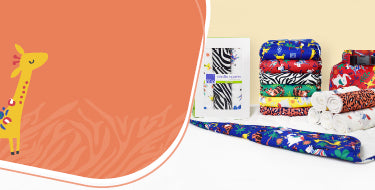 Bambino Mio safari collection banner showing products with safari designs