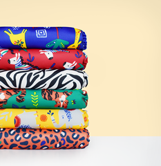 Bambino Mio safari designs in a nappy stack
