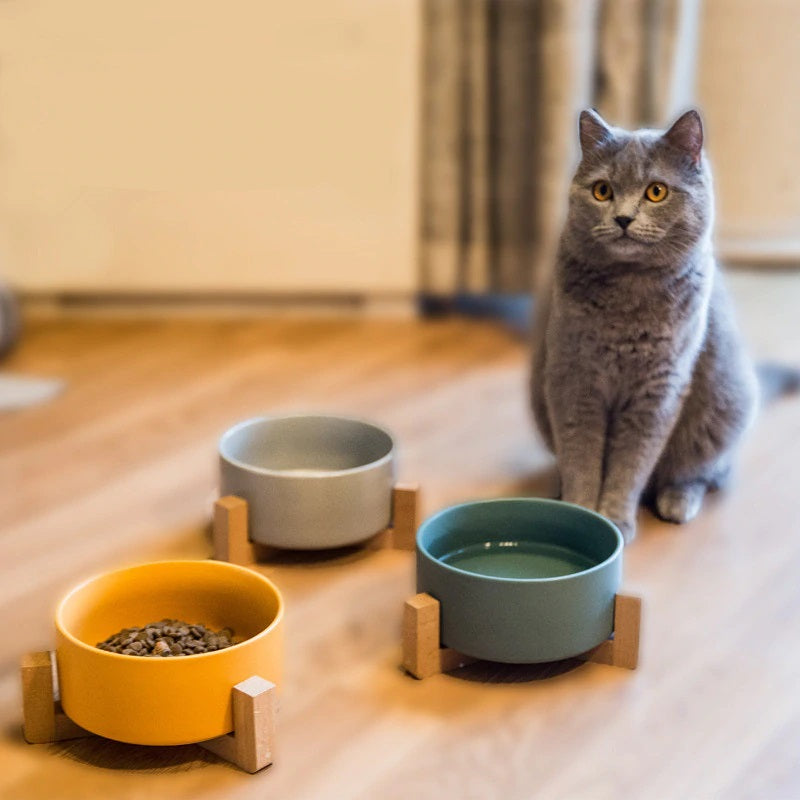 Ceramic & Bamboo Cat Bowl