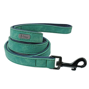 Custom Personalized Leather Dog Collar and Leash
