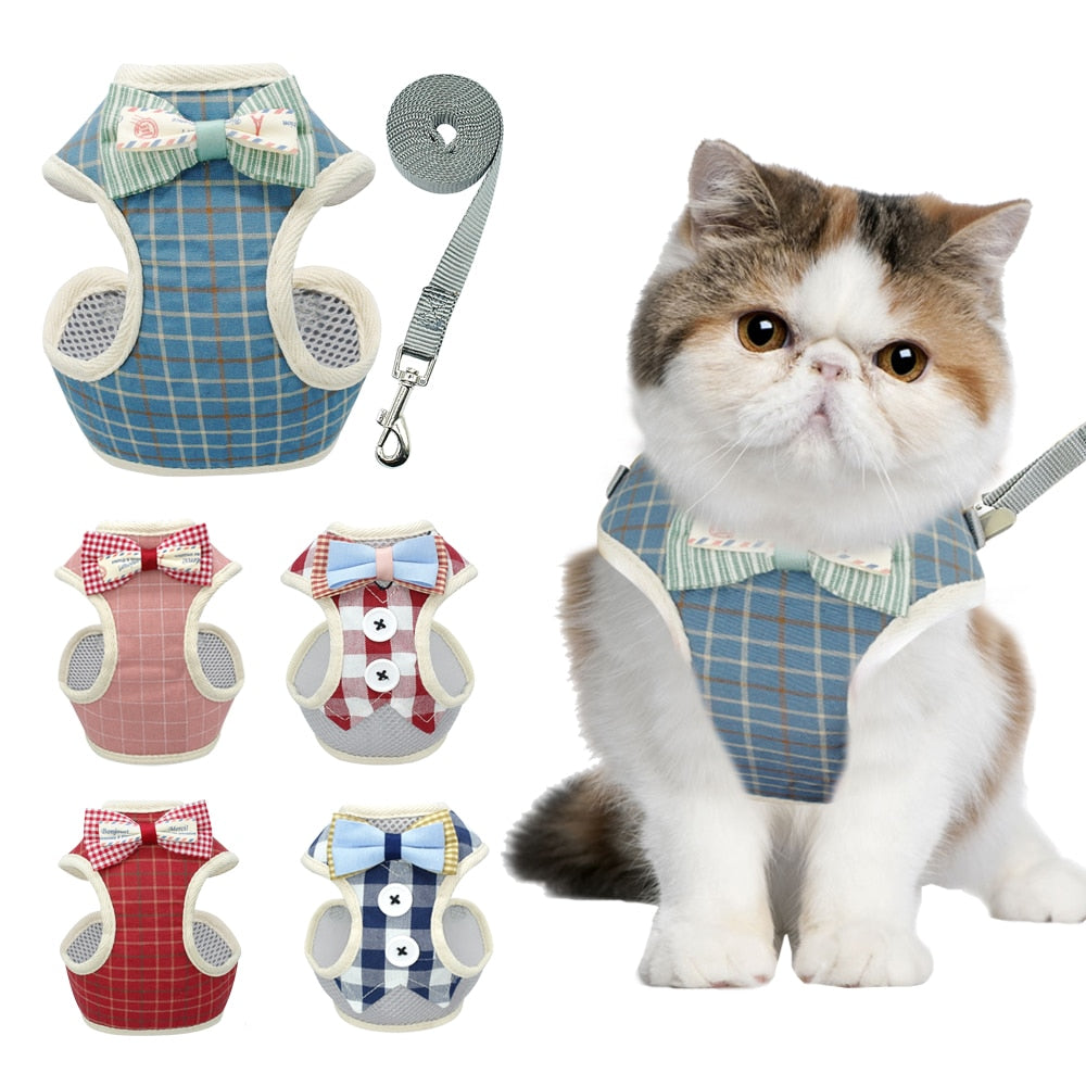 Gentlemen's Bowtie Vest Cat Harness and Leash