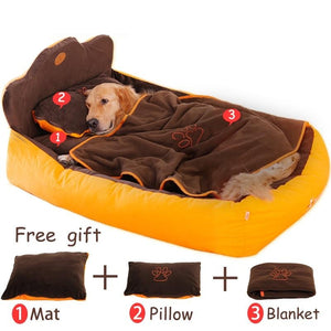 Washable 3PCS Dog Bed with Double Sided Cushion, Soft Pillow & Blanket