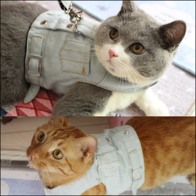 Denim Cat Vest with leash