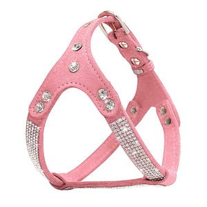Rhinestone Leather Pet Harness