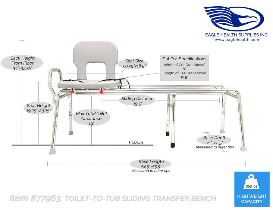 Eagle Health: Toilet-to-Tub Sliding Transfer Bench (Long) - 77963