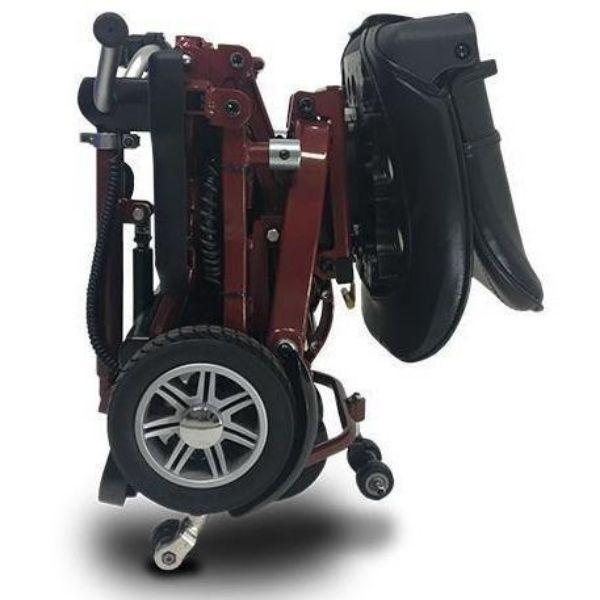 MiniRider By EVRider Folding Mobility Scooter In Red  Folded up View From Side