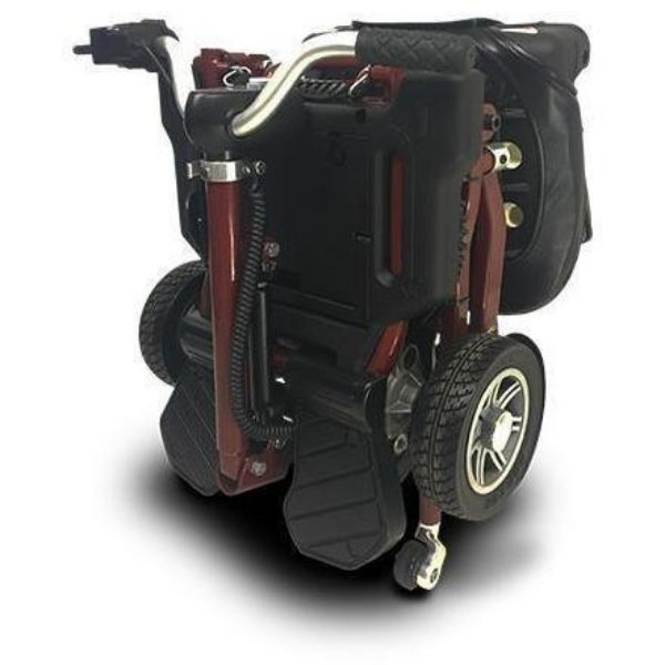 MiniRider By EVRider Folding Mobility Scooter In Red  Folded Up For Storage Or Easy Travel