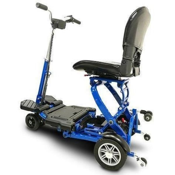 MiniRider By EVRider Folding Mobility Scooter In Blue Looking From The Side