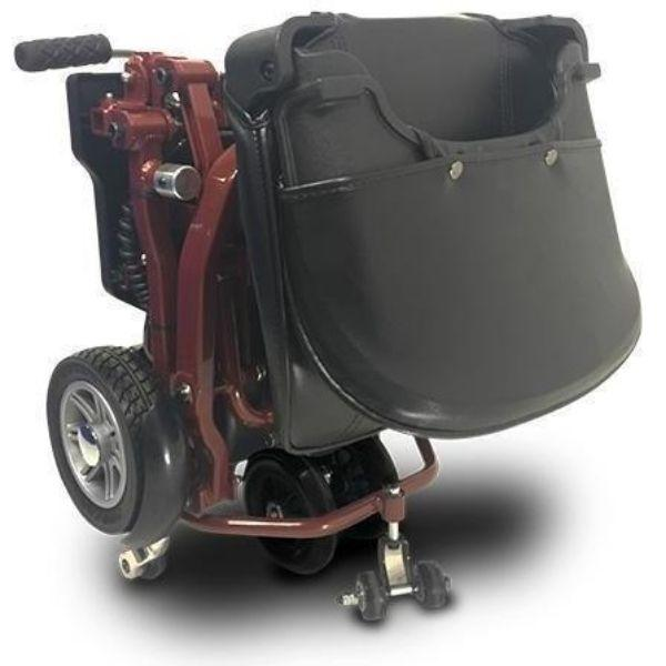 MiniRider By EVRider Folding Mobility Scooter In Red  Folded Away For Storage