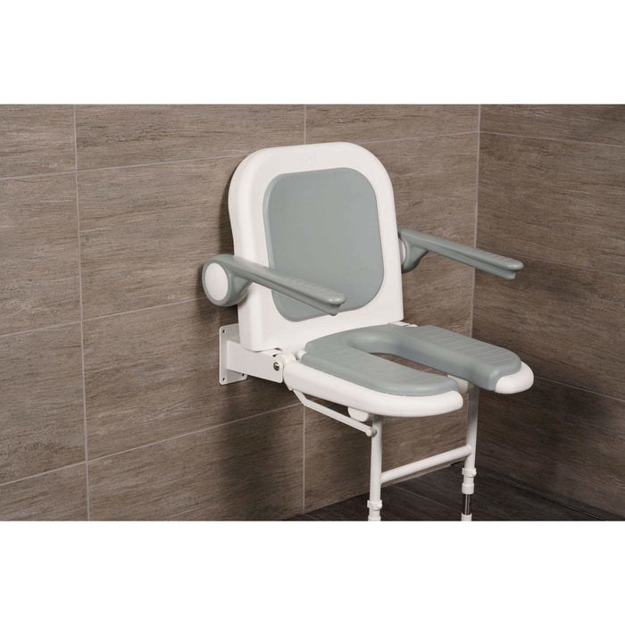 "Arc First 4000 Series 19"" Wide Folding Shower Seat with Arms, Back, Gray Pads & ""U"" Shaped 04260P"