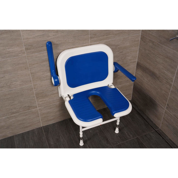 "Arc First 4000 Series 23¾"" Wide Folding Shower Seat with Arms, Back, Blue Pads & ""U"" Shaped 04150P"