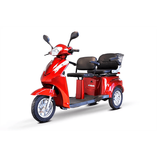 EW-66 EWheels 3 Wheel Mobility Scooter Red two seats