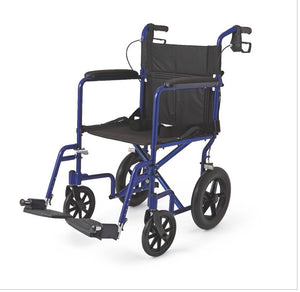"Medline Aluminum Transport Chair with 12"" Wheels,Blue 19x19"