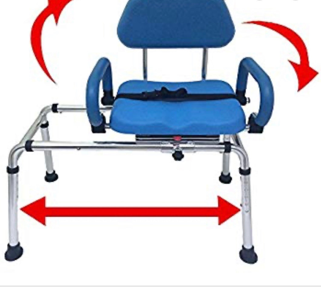 CAROUSEL SLIDING TRANSFER BENCH WITH SWIVEL SEAT.