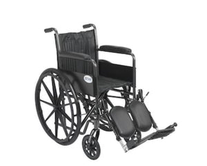 18x18 Drive Medical Silver Sport 2 Wheelchair, Non Removable Fixed Arms, Elevating Leg Rests, 18-in Seat