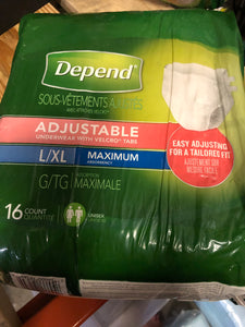 Depend L/xl maxium pull ups 16 count