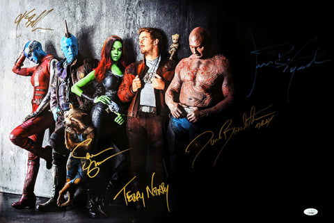 Guardians of the Galaxy 16x24 Photo Signed Autograph Gillan Bautista Gunn Rooker Notary JSA Certified COA GalaxyCon