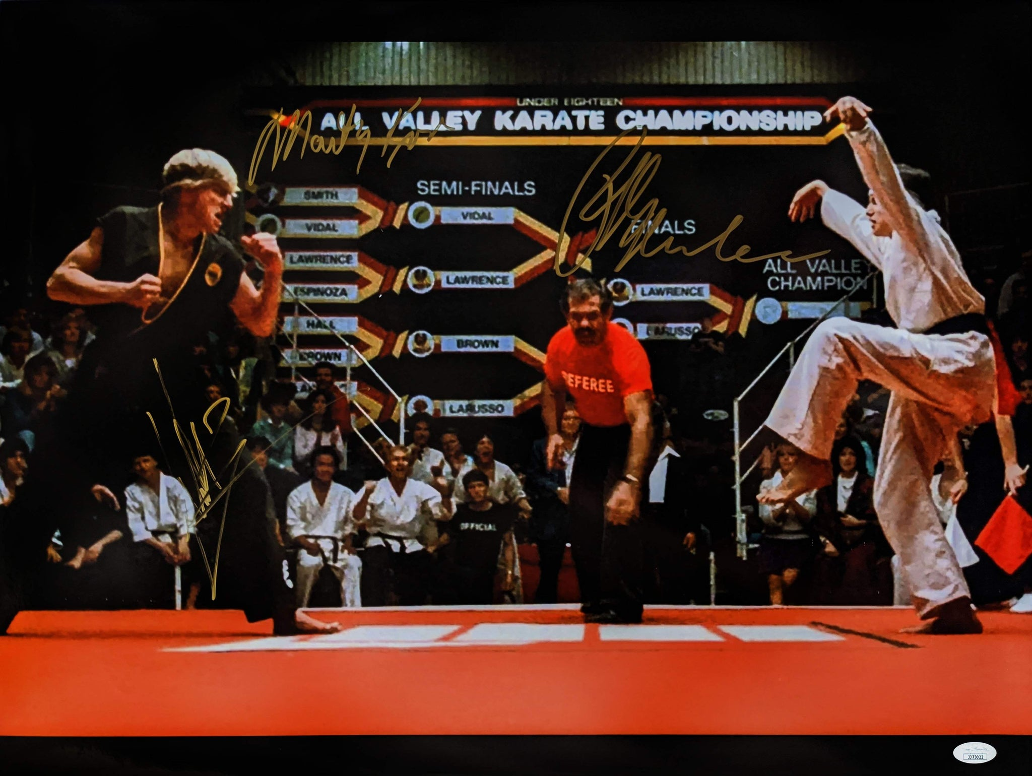 Karate Kid 18x24 Photo Poster Signed Autograph Macchio Zabka Kove JSA Certified COA GalaxyCon