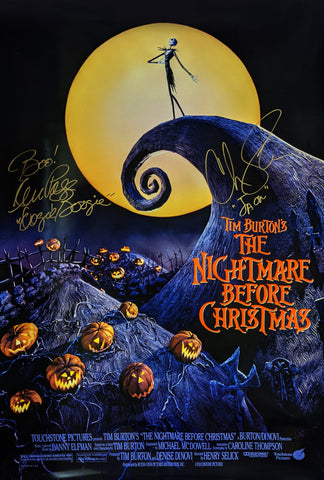 The Nightmare Before Christmas 27x40 Poster Signed Autograph Sarandon Page JSA Certified COA Auto