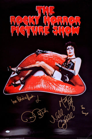 RHPS 24x36 Poster Signed Curry Campbell Quinn Bostwick Meat Loaf JSA Certified COA GalaxyCon