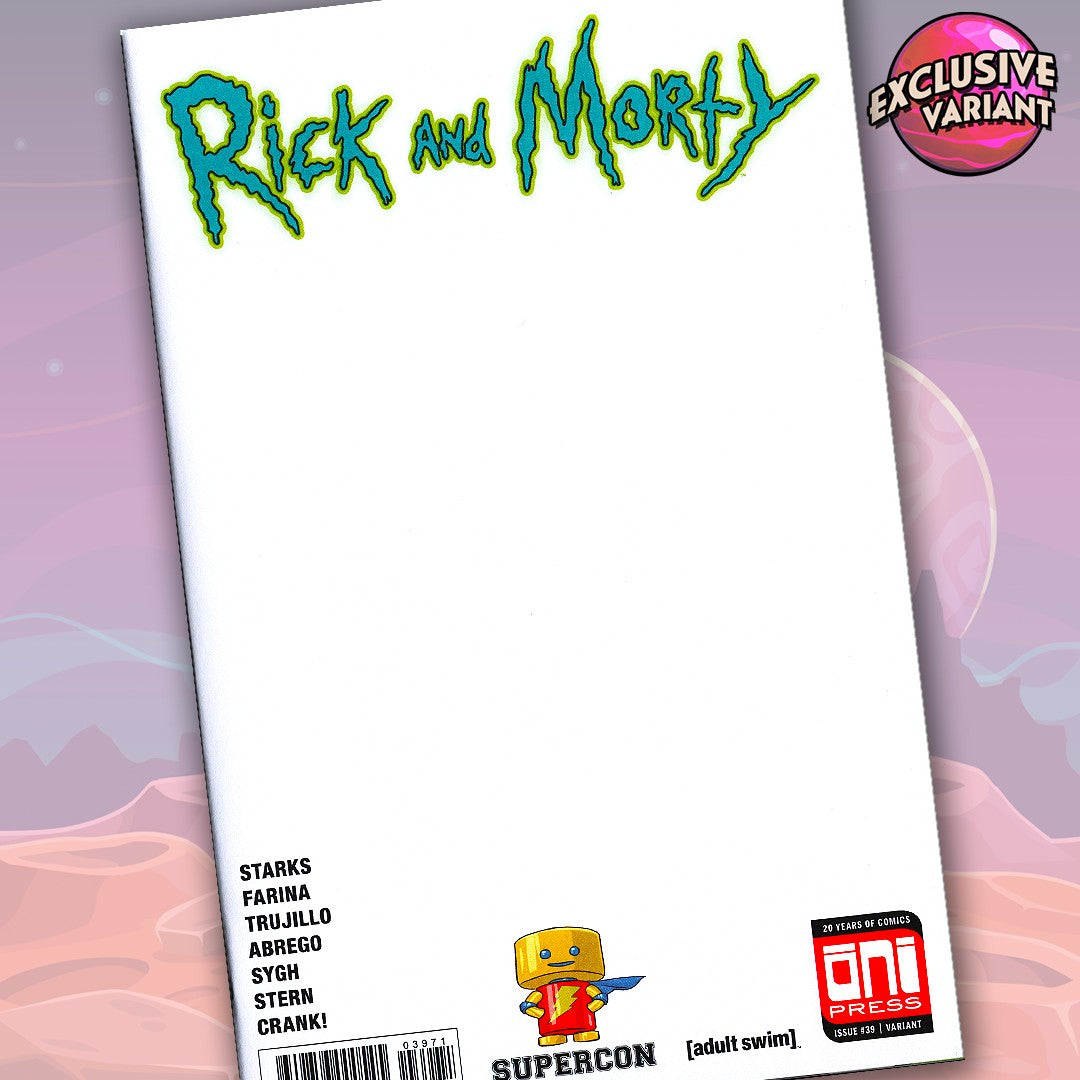 Rick And Morty #39 Supercon Convention Exclusive Blank Sketch Cover GalaxyCon
