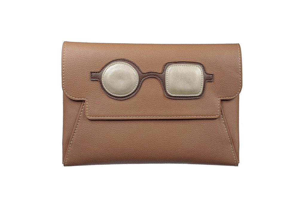 Clutch - Brown with Pop Art Frame