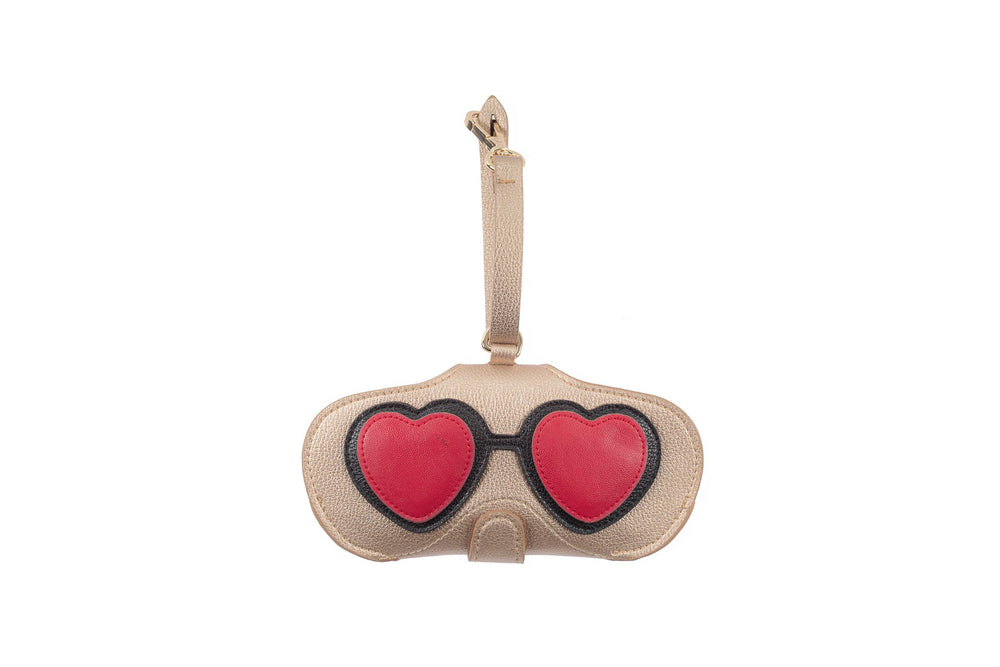 Pouch - Beige with Red Hearts