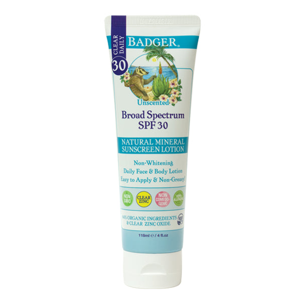 Badger Company SPF 30 Clear Zinc Sunscreen Lotion - Unscented (4 oz)
