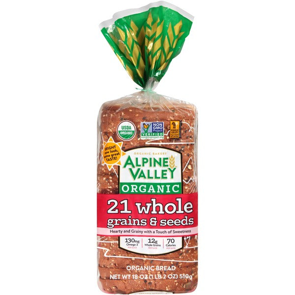Alpine Valley Organic 21 Whole Grains & Seed Bread, 18 oz