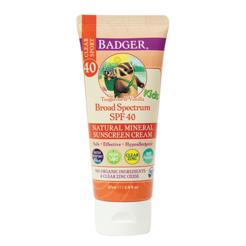 Badger Company SPF 40 Kids Clear Zinc Sport Sunscreen Cream (2.9 oz)