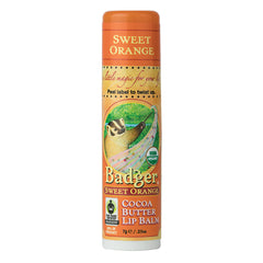 Badger Company Natural & Organic Cocoa Butter Sweet Orange Lip Balm Stick (.25 Oz)