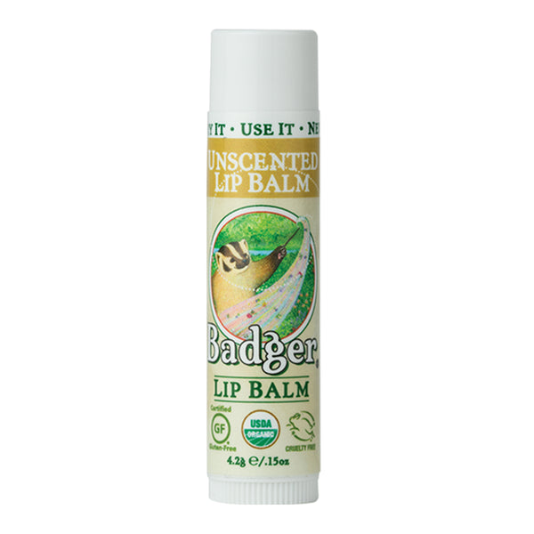 Badger Company Natural & Organic Unscented Lip Balm Stick (.15 oz)