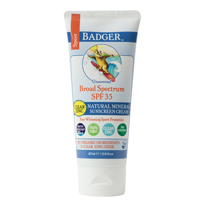 Badger Company SPF 35 Clear Zinc Sport Sunscreen Cream - Unscented (2.9 oz)
