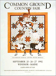 MOFGA's 1992 Common Ground Country Fair Poster - Goats and Quilt