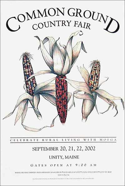 MOFGA's 2002 Common Ground Country Fair Poster - Dancing Corn