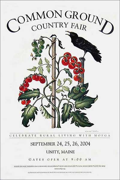 MOFGA's 2004 Common Ground Country Fair Poster - Crow on a Tomato Vine