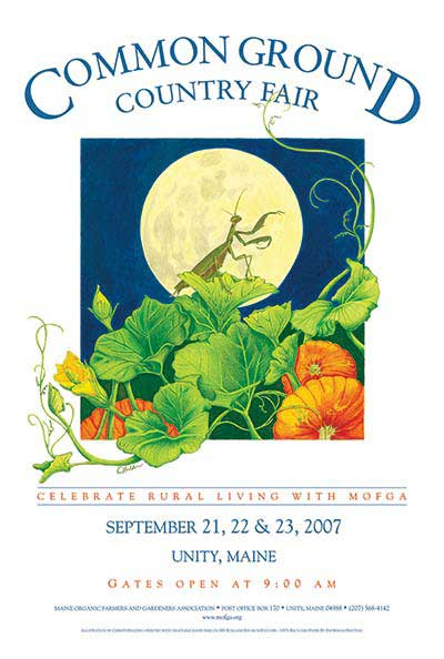 MOFGA's 2007 Common Ground Country Fair Poster - Praying Mantis in Harvest Moon