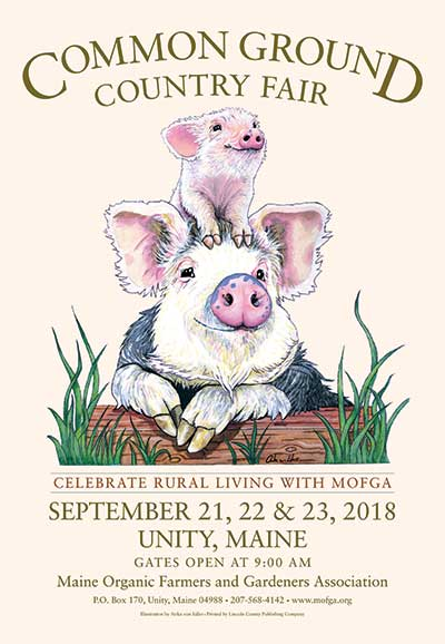 2018 Common Ground Country Fair Sticker. Design of two pigs.