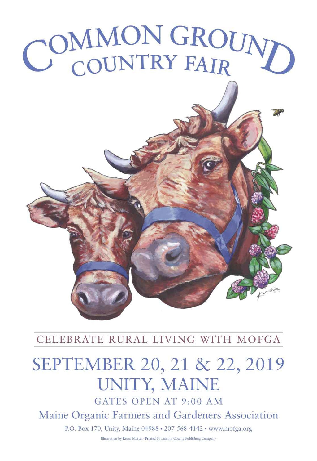 2019 Common Ground Country Fair poster. Dexter Heifers design. On white background