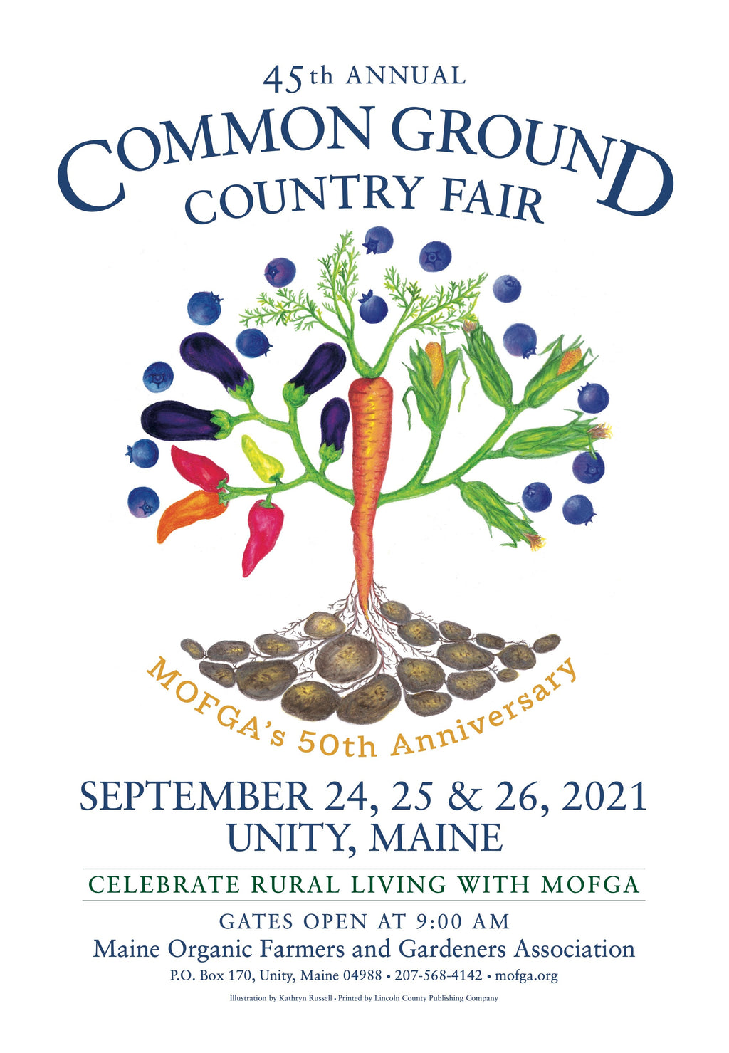 2021 Common Ground Country Fair MOFGA's 50th anniversary poster with tree design made of Maine produce
