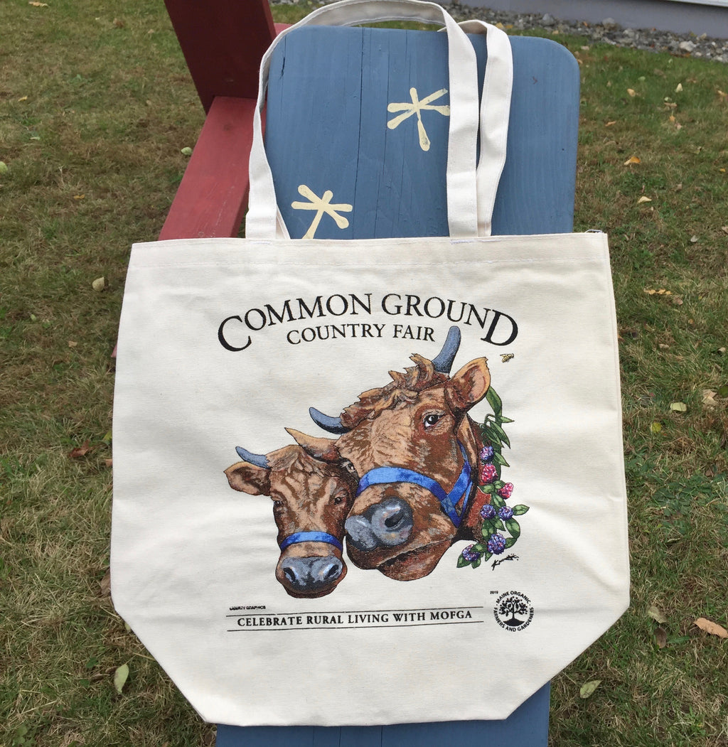 2019 Common Ground Country Fair Large grocery tote bag. Dexter Heifers design. Color white