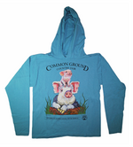 MOFGA's 2018 Common Ground Country Fair - Adult Long-Sleeved Hooded T-Shirt - Pigs - Teal